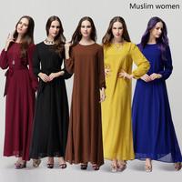 Wholesale quality casual winter dresses women 2014 autumn fashion long sleeve chiffon bow maxi Muslin style dress