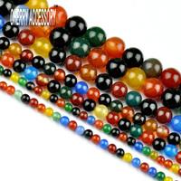 Agate Beads 4 6 8 10mm Smooth Round Ball Mix Color Semi precious Nigerian Tourmaline Cabochon Cerami Natural Stone Beads HC625