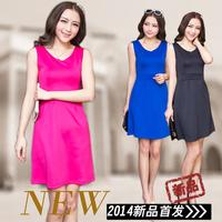 2014 New Fashion Autumn spring summer new large size dress sleeveless vest dress bottoming spring women dress princess dress
