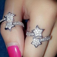 double star  created diamond ring crystal ring free shipping (MIN order $10 mixed order)
