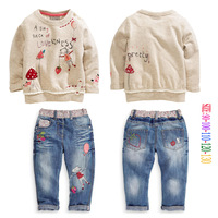 children's clothing fashion hot-selling female child set long-sleeve tshirt and jeans pants gril kids suits size 90-130cm set