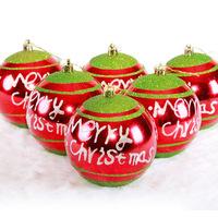 TM320 Christmas decoration 10cm red English Christmas ball painted high-grade Christmas ball (pack of 6)