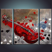 2015  latest Red guitar oil painting pictures Abstract Modern Home Decors Art Canvas Decor Paintings handpainted Special gift