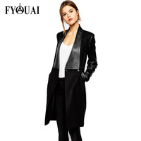 FYOUAI NEW Women Woolen Coat Fashion Long Jacket Autumn and Winter PU Leather Coat High Quality For Female