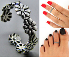 New Fashion Carved Flower Adjustable Opening Finger Ring Women Girls Ancient Silver Color Toe Ring Party