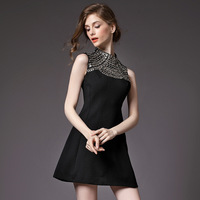 Slim slim backing autumn sundresses rework rivet sequins nail bead black semi high necked sleeveless dress