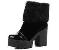 Women's Charm Ankle-high High-heel Chunky Boots, Faux-fur&zipper Decoration