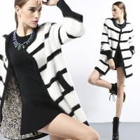 Mink cashmere sweater marten velvet outerwear cardigan female medium-long stripe overcoat qt13