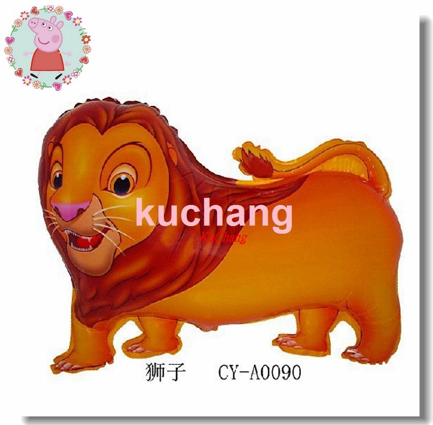 Grátis frete 10 pcs 63 * 49 cm animal dos desenhos animados leão folha de balões de hidrogênio de aniversário decoração de balões qualidade balão tigre / globo(China (Mainland))