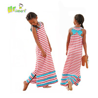 Girls Dress 2014 Summer Girls Casual Dress Kids Stripped Long Beach Dress with bowknot All for children clothing and accessories