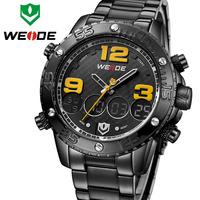 Hot Sale! WEIDE Sports Men Watch Top Brand Luxury Stainless Steel Band Big Dial Design Analog-Digital Quartz Watch Top Quality