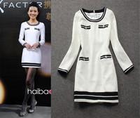 Fashion New Brand Autumn Dresses For Women Long Sleeve Casual Pockets Wool Warm Dresses Black/White Vestidos Free Ship W18119