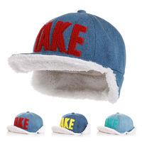 Hot Sale Children Winter Hats Denim Cloth Velvet Earflaps Hats Unisex Boys And Girls Warm Kids Baby Bomber Hats For 2-7T DH00054