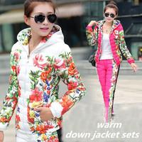 2014 Women's Winter Down Coat set  Fashion Slim Print Warm Casual Down Jacket women free shipping