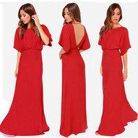 Vestidos Longos De Verao Dress Women Round Neck vestidos largos Short Sleeve halter Long  Dress party evening elegant