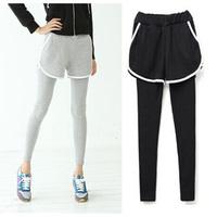 2014 New Women Sports Leggings Active Wear 100% Cotton Autumn Running Pants Pockets Casual Skirt Leggings MSL1107
