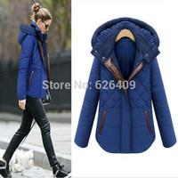 Hot Sale Thick Plaid  Women Coats  Hooded Contrast Color Slim Jackets Jaquetas Ladies  Feminine Casaco Inverno
