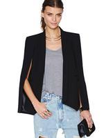 Women Fashion Black Lapel Split Long Sleeve Pockets Casual Blazer Cape Suit Workwear