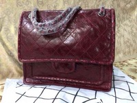 burgundy wine red OIL WAX CALF SKIN 2014 autumn new style handbag  original leather wholesale