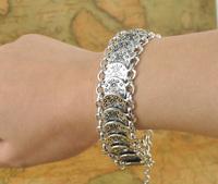 Gypsy Bohemian Jewelry Antique Silver Coin Bracelet for Women