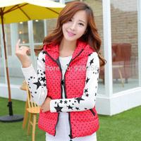 Hot new women's autumn and winter fashion Korean Slim small dot hooded vest vest short paragraph female free post