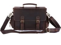 Vintage handmade genuine crazy horse leather Camera briefcase/ business shoulder bag/ laptop bag/ messenger bags for men