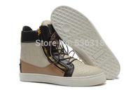 GZ origianl punk genuine leather flat height increasing Golden snake's grain men and women lovers sneakers,EUR 35-46,brand shoes