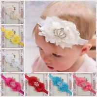 Wholesale Mixed 15sets Chilffon Sun Flower Baby Headband Kids Diamond Crown Hair Band Girl Hair Accessories 10pcs/lot TS-14113