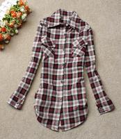 2014 spring women's fashion plaid shirt Women long-sleeve loose 100% women's cotton shirt
