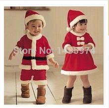 New 2-4Years Kids Winter sets Boy Coat and Pant Girl Dress Children Santa Suit Novelty Costume Baby Christmas Clothing Sets(China (Mainland))