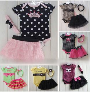 2014 baby clothing set baby girl 3 pcs set Romper +Tutu Skirt + Headband 3pcs sets Polka-dot princess clothes infant outfits(China (Mainland))