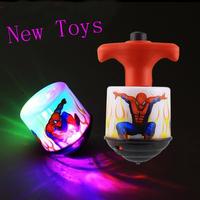 New Spider Man SPIDERMAN Flash Light Music Spinning Top LED Flashing Toys Iron Man Gyro Toy 12pcs/pack