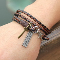 Manufacturers Most Preferential Price Sell Fashion Multilayer Leather Bracelet! Male Charm Bracelet Bracelet! Free Shipping