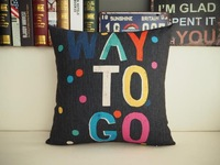 Free shipping novelty encourage way to go Words colorful dots Pattern cushion cover home car boat decorative throw pillow case