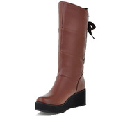 Womens Closed Round Toe Kitten Heels PU Cotton Solid Boots with Wedge and Platform