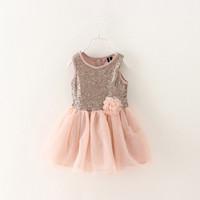 Girls summer flower sequins gauze dress , girls tutu dress , girls dresses , 6pcs/lot   YS181