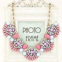 Luxury Pink Flower Shourouk Collar Choker Chunky Statement Necklaces & Pendants New 2014 Fashion Jewelry Women Wholesale N185