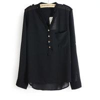 Free shipping 2014 new   3 colors v-neck  large pocket loose women chiffon blouse shirt S-XL