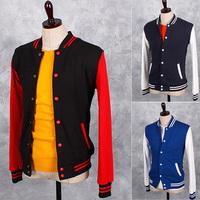 Hot-selling! 2014 Autumn new Korean Slim splicing men sweatshirt fashion men casual sweatshirt Baseball clothing 5 colors