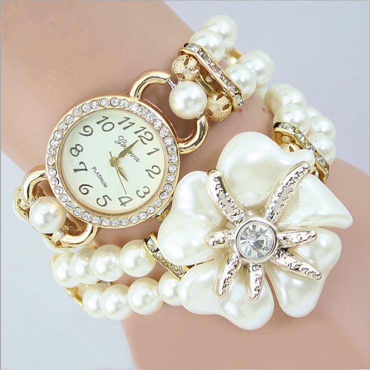 2015 New Popular Clock Original Design Bracelet Pearls Strap Fashion Women Wristwatches Diamond Rhinestone ladies wrist watches(China (Mainland))