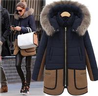 Women's Winter Coat Free Shipping Medium Long Warm Hood Women's Down Coat Plus Size Thick Fur Collar Winter Parka WC198