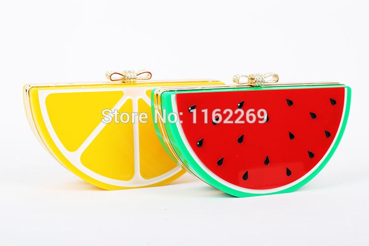 New design cute watermelon lemon acrylic rhinestone bow clutch evening bag ladies handbag shoulder bag across-body mini chain(China (Mainland))