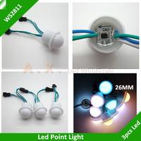 50Pcs/Lot 26mm WS2811 Led Point Light IP67 Waterproof Led Point Lights RGB Full Color Module DC12V