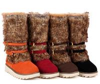 Women's Round Toe High Platform Fur  Boots winter boot