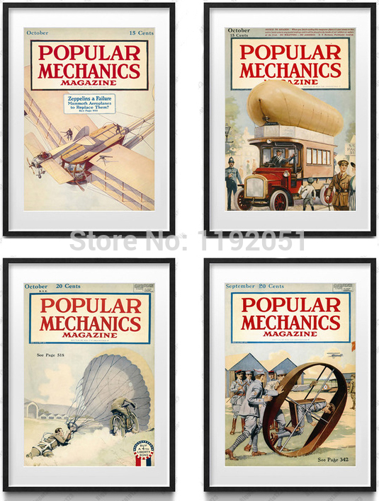 scenry posters canvas paintings popular machinics magazine cover pictures airplane trucks balloon(China (Mainland))