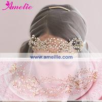 Free Shipping Gold Plated Triple Crystal Loops Bridal Headband as Wedding Headpieces