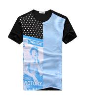 2014 summer new retro fashion men's short-sleeved t-shirt men's round neck t-shirt top brand t-shirt