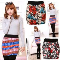 2014 New Autumn Winter Womens Retro Floral Slim Package Hip skirt Fashion Skirt Elastic Waist straight Pencil Skirt For Woman