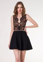 Hot Sale 2014 fashion little Black Sexy backless Bandage Dress Prom Party dress V-neck Vestidos vestido de festa Free Shipping
