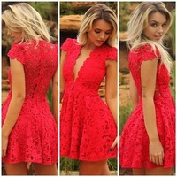Hot Sale Women red wedding dresses lace V-neck dress mulheres rendas do vestido de casamento Size S M L XL Free Shipping